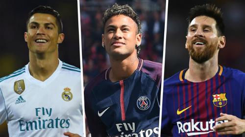 Ronaldo, Neymar và Messi cùng có mặt trong top 5. Ảnh:AFP.
