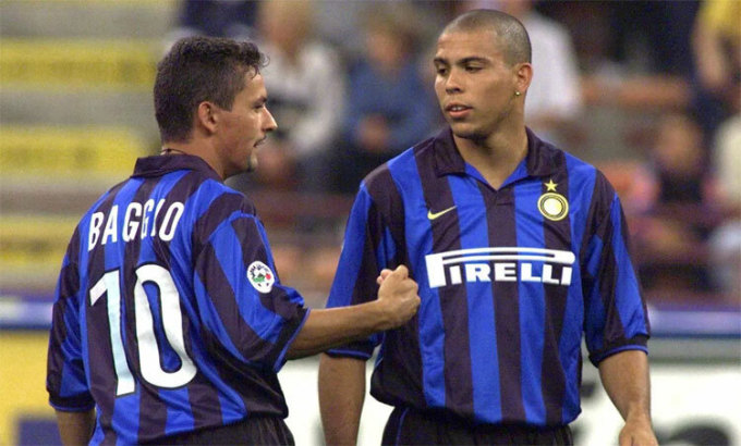Baggio và Ronaldo Nazario từng làm nên dàn sao tại Inter. Ảnh: Reuters.