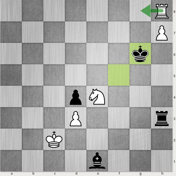Đen vừa kéo vua về g6 để tóm tốt h7. Trắng sẵn sàng bỏ tốt với nước chiếu xe b8.