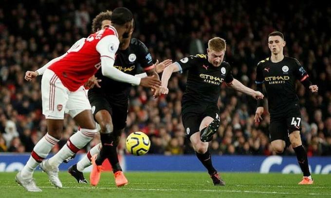 Man City gặp Arsenal là một trong hai trận đánh dấu sự trở lại của Ngoại hạng Anh sau Covid-19. Ảnh: Reuters.