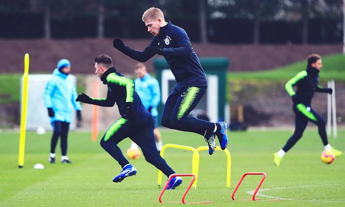 Cầu thủ Man City trên sân tập. Ảnh: MCFC.