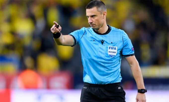Trọng tài Vincic cầm còi bốn trận trên đấu trường châu Âu từ đầu mùa 2019-2020. Ảnh: Reuters.