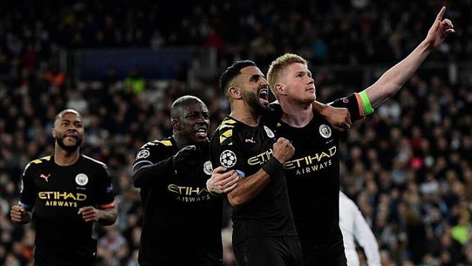 Cầu thủ Man City mừng chiến thắng trên sân Real hồi tháng 3. Ảnh: EP.