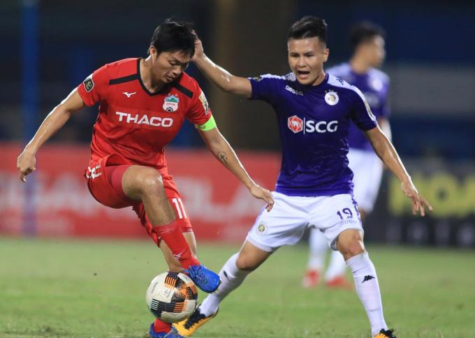 Tuấn Anh sẽ phải rất vất vả khi đụng độ hàng tiền vệ rất mạnh của Hà Nội.