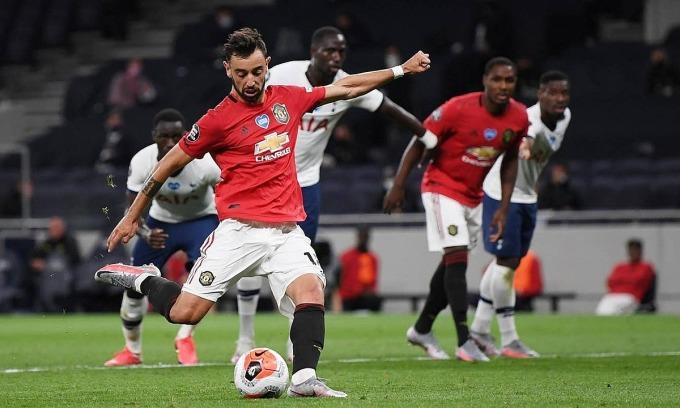 Bruno Fernandes đã ghi bốn bàn cho Man Utd, trong đó ba bàn đến từ phạt đền. Ảnh: Reuters.