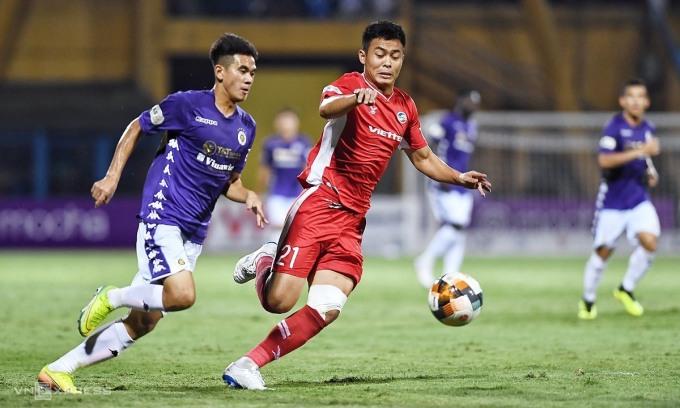 Hà Nội không thắng trận thứ năm kể từ đầu mùa. Ảnh: Giang Huy.
