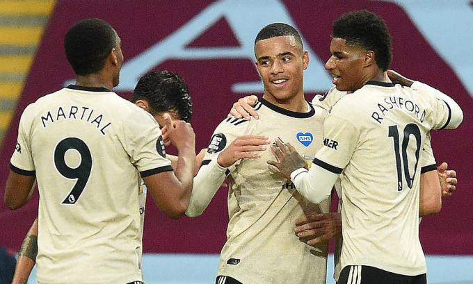 Bộ ba tấn công 3M của Man Utd lúc này: Martial, Mason Greenwood và Marcus Rashford. Ảnh: AFP