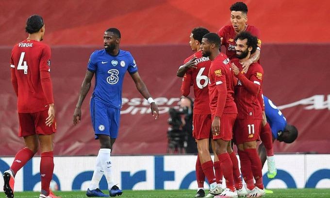 Liverpool và Chelsea cống hiến trận cầu tám bàn thắng. Ảnh: Reuters.