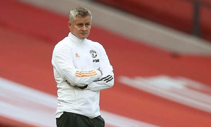 Solskjaer cam kết Man Utd sẽ hồi phục thể lực 100% cho trận đấu cuối mùa giải gặp Leicester. Ảnh; Reuters.