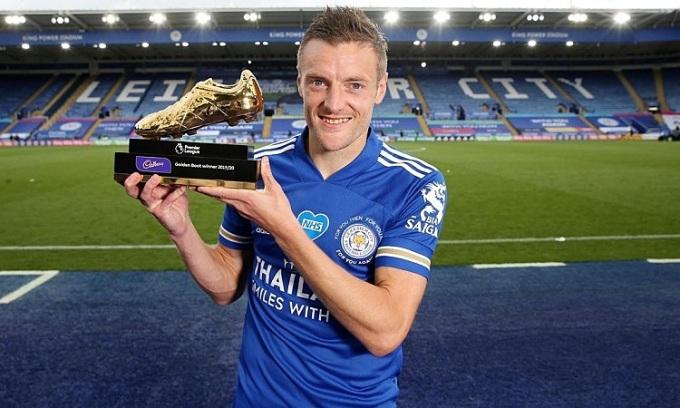 Vardy trở thành vua phá lưới Ngoại hạng Anh ở tuổi 33. Ảnh: LCFC.