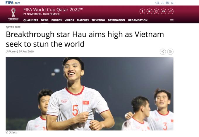 Bài viết về Đoàn Văn Hậu trên trang chủ FIFA ngày 7/8.
