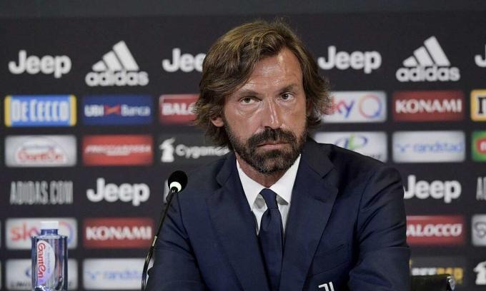 Pirlo trong họp báo ra mắt HLV U23 Juventus hôm 31/7. Ảnh: Reuters.