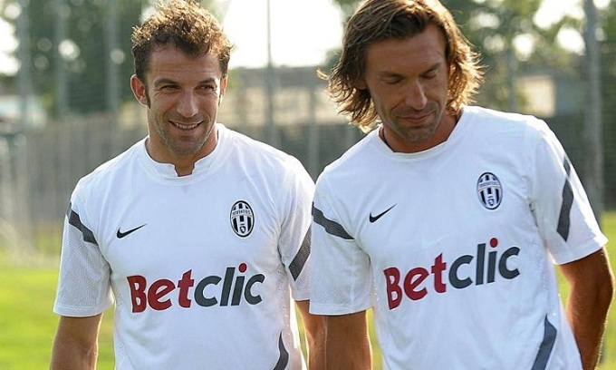 Del Piero cho rằng Pirlo hoàn toàn có thể thành công với Juventus hơn Zidane tại Real. Ảnh: Gazzetta.