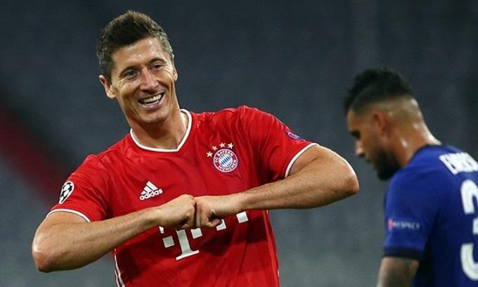 Lewandowski đã ghi 13 bàn sau 8 trận ở Champions League mùa này. Ảnh: Reuters.