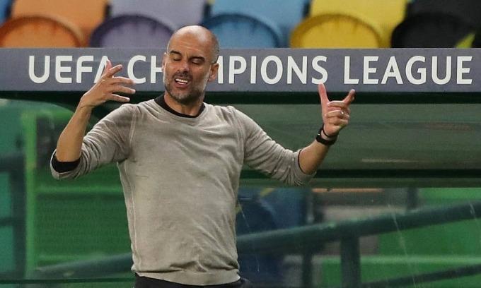 Guardiola chưa thể phá dớp bán kết cùng Man City. Ảnh: Reuters.
