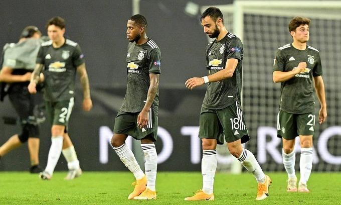 Man Utd rời cuộc chơi vì phung phí cơ hội. Ảnh: Reuters.