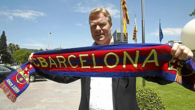 Koeman trong lễ ra mắt Barca sáng 19/8. Ảnh: Marca