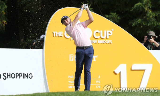 Justin Thomas thi đấu ở CJ Cup 2019, trên sân The Club at Nine Bridges, Jeju. Ảnh: Yonhap