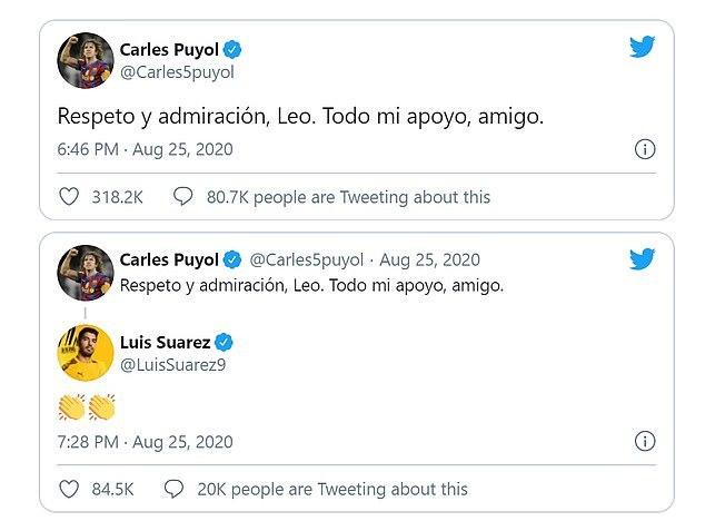 Bài đăng của Puyol, thể hiện sự ủng hộ đối với Messi.