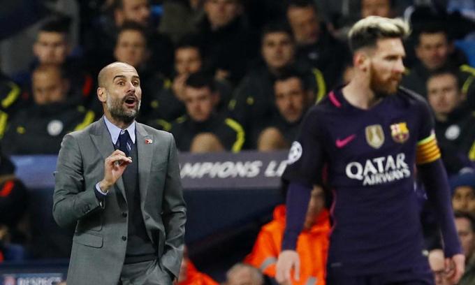 Man City của Guardiola được coi là điểm đến sáng nhất với Messi lúc này. Ảnh: Reuters