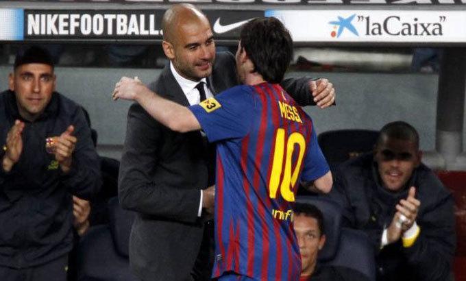 HLV Guardiola và Messi cùng sẵn lòng tái hợp ở Man City. Ảnh: Reuters.