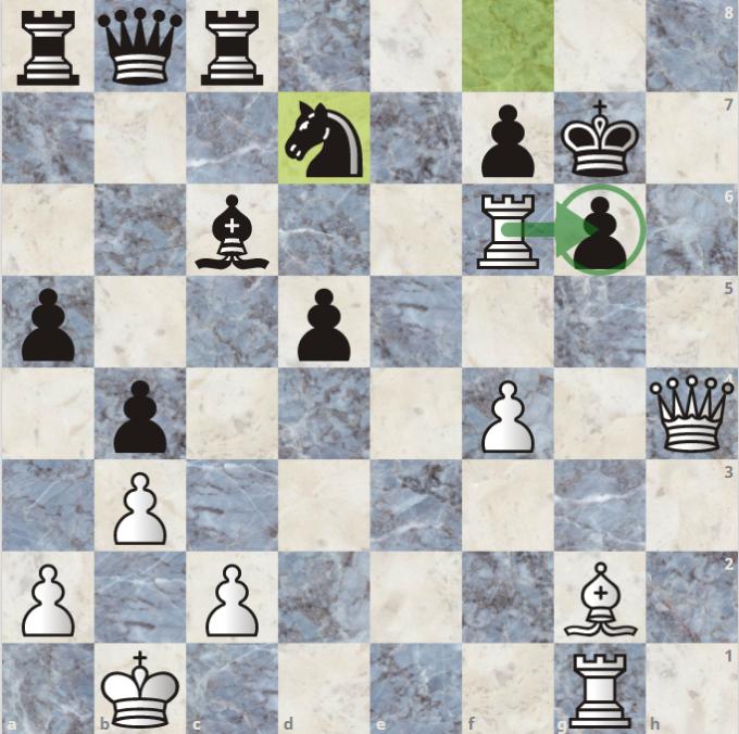 Thế cờ sau 28...Nd7. Quang Liêm, cầm quân trắng, chỉ có một nước đi thắng. Chỉ mất vài giây, anh nhận ra và thí xe vào tốt g6. Đen không có cách nào khác để tránh bị chiếu hết trong vòng bảy nước kế tiếp.