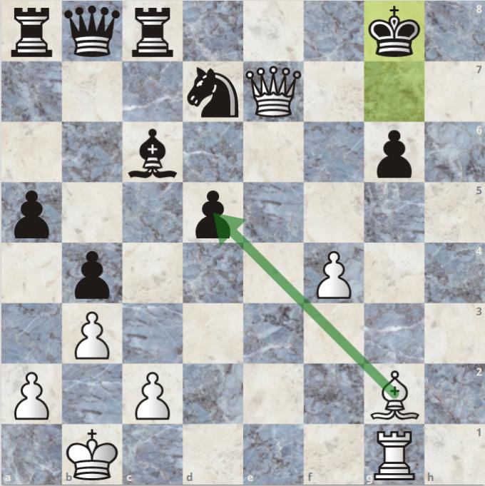 Vua đen chạy xuống g8, nhưng Quang Liêm tiếp tục thí tượng vào tốt d5, mở đường cho xe trắng. Sau nước cờ này, Đen đầu hàng.