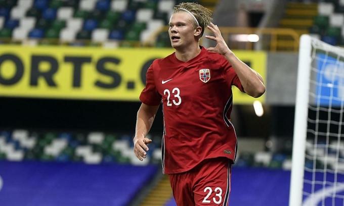 Haaland đã ghi ba bàn trong bốn trận cho Na Uy. Ảnh: EPA