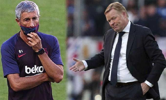 Về lý thuyết, Koeman chưa phải là HLV của Barca. Ảnh: Marca.