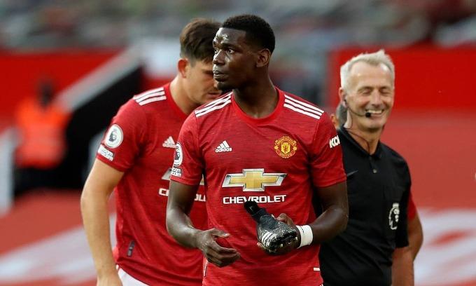 Paul Pogba gây thất vọng trong trận thua đầu tiên của Man Utd. Ảnh: AP