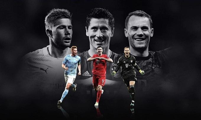De Bruyne, Lewandowski và Neuer có cơ hội lần đầu nhận giải Cầu thủ hay nhất của UEFA. Ảnh: UEFA.
