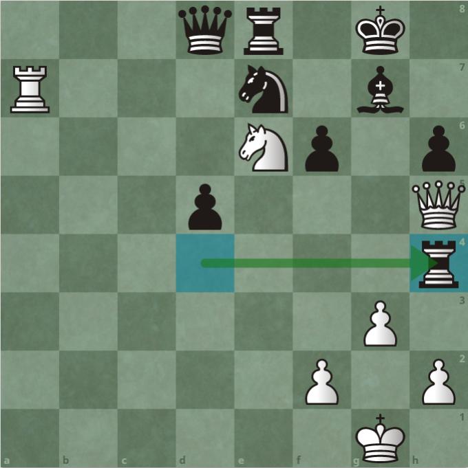 Thế cờ sau 30...Rxh4. Quang Liêm đi đúng như kế hoạch. Nếu Trắng dùng mã bắt hậu, Đen dùng xe bắt lại hậu trắng. Vì thế, Trắng phải dùng hậu bắt xe đen ở h4, chấp nhận thiệt mã sau cuộc trao đổi. Máy tính đánh giá cơ hội thắng của Đen là 99%.
