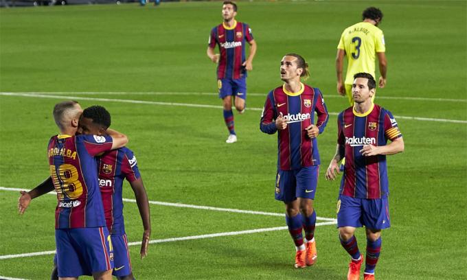 Trận thắng Villarreal cho thấy Messi vẫn là một phần quan trọng của Barca, nhưng không còn là nhân tố quyết định lối chơi của đội trên sân. Ảnh: FCB