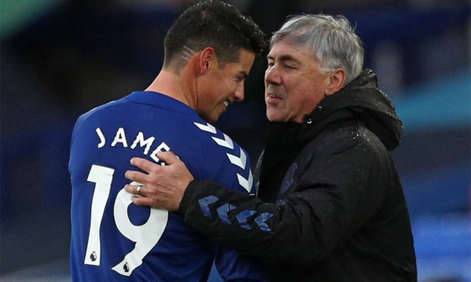 Với Ancelotti và James, Everton đang sống những ngày đẹp nhất trong kỷ nguyên Ngoại hạng Anh. Ảnh: PA