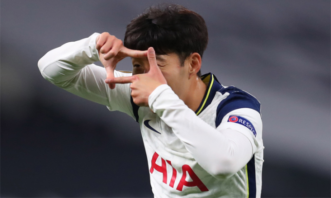 Son đã ghi dấu giày trong 13 bàn của Tottenham mùa này, với 9 bàn và 4 kiến tạo. Ảnh: EPA.