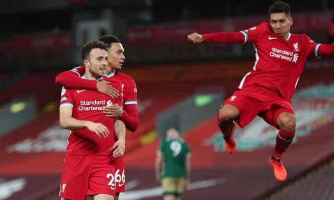 Tân binh Jota đã ghi hai bàn sau hai trận khoác áo Liverpool ở Ngoại hạng Anh. Ảnh: Reuters.