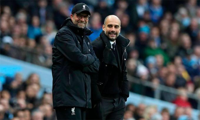 Guardiola và Klopp thay nhau giành ba chức vô địch Ngoại hạng Anh gần đây với những số điểm cao nhất lịch sử: 100, 98 và 99. Ảnh: Reuters.
