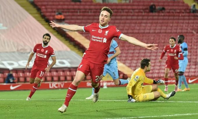 Jota ghi bàn ở ba trận liền cho Liverpool, gặp Sheffield United, Midtjylland và West Ham. Ảnh: Reuters