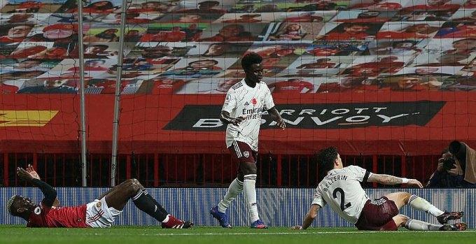 Tình huống Pogba (trái) phạm lỗi với Bellerin dẫn đến quả phạt đền. Ảnh: MUFC.