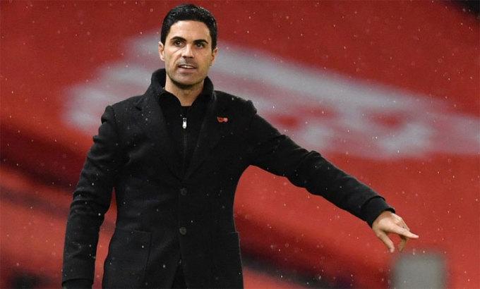 Arteta và Arsenal giành 12 điểm sau bảy trận đầu mùa, chỉ kém bốn điểm so với đội dẫn đầu Liverpool. Ảnh: Arsenal FC.