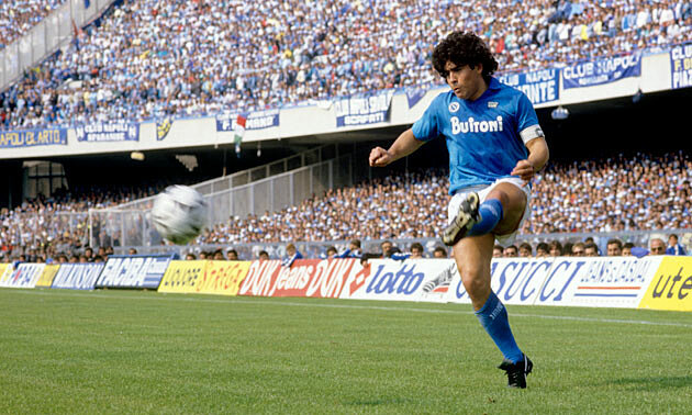 Maradona trong thời gian chơi bóng ở San Paolo. Ảnh: EMPICS