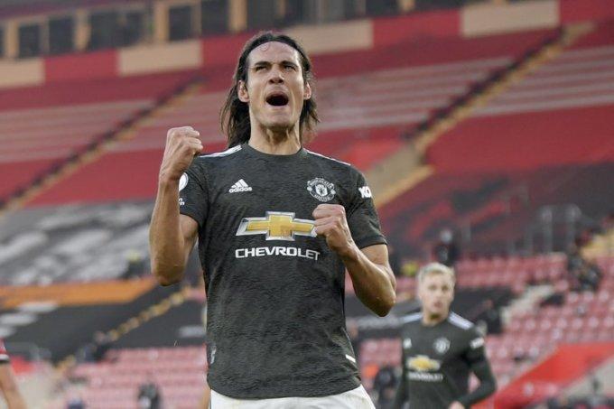 Cavani giúp Man Utd lần đầu thắng tám trận sân khách liên tiếp tại Ngoại hạng Anh. Ảnh: AP.