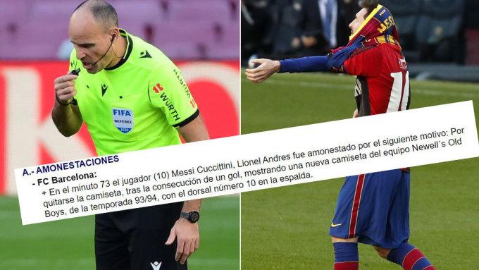 Trọng tài Lahoz và đoạn báo cáo gửi cho Liên đoàn. Ảnh: Marca.