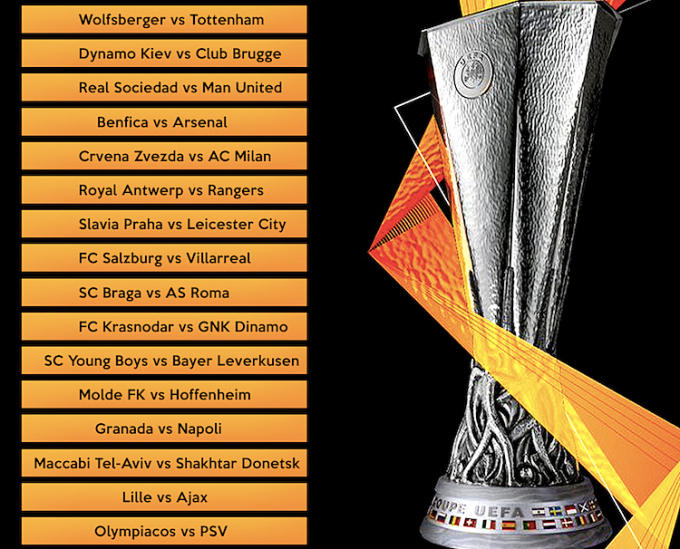 Kết quả bốc thăm vòng 1/16 Europa League. Ảnh: Football Daily.