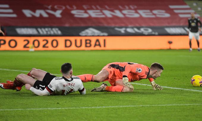 Henderson trong tình huống mắc lỗi dẫn tới bàn thua của Man Utd ngay phút thứ năm trên sân Sheffield hôm 17/12. Ảnh: Sports Mail