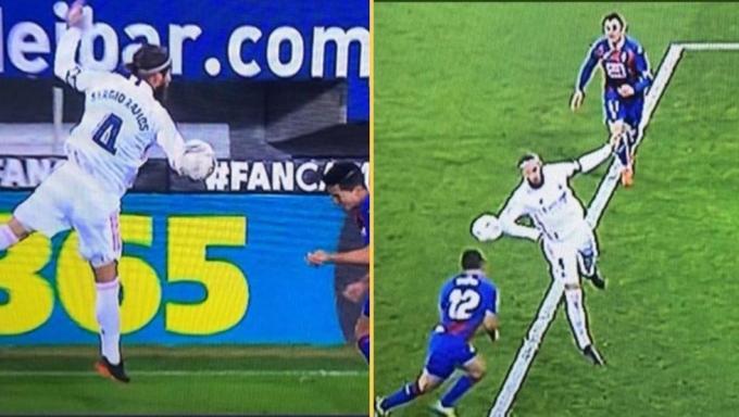 Tình huống Ramos để bóng chạm tay trong vòng cấm ở trận Eibar - Real hôm 20/12, nhưng trọng tài không thổi phạt đền Real.