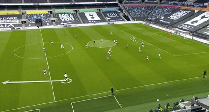 Tình huống Kane lùi sâu trong trận gặp West Ham. Cầu thủ đối phương không thể áp sát Kane trong phạm vi 5m, và Tottenham lập tức có cơ hội phản công từ vị trí của Son Heung-min (hướng mũi tên).