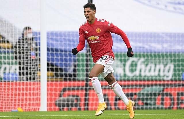 Rashford bỏ lỡ cơ hội ngon ăn ngay phút thứ hai, nhưng vẫn ghi bàn mở tỷ số trước chủ nhà Leicester. Bàn thắng thứ 80 của anh trong 237 trận cho Man Utd. Ảnh: Reuters