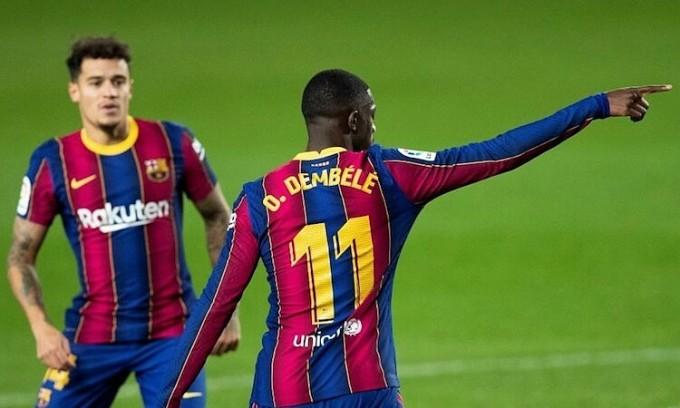 Bàn gỡ của Dembele chỉ giúp Barca giành một điểm. Ảnh: EFE.