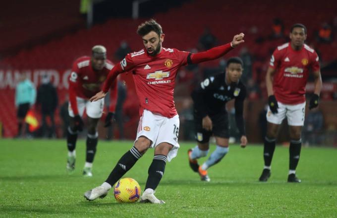 Quả phạt đền thành công của Bruno Fernandes giúp Man Utd dập tắt sự hưng phấn của Aston Villa, mở ra thắng lợi cho Man Utd trong trận đầu tiên năm 2021. Ảnh: Reuters